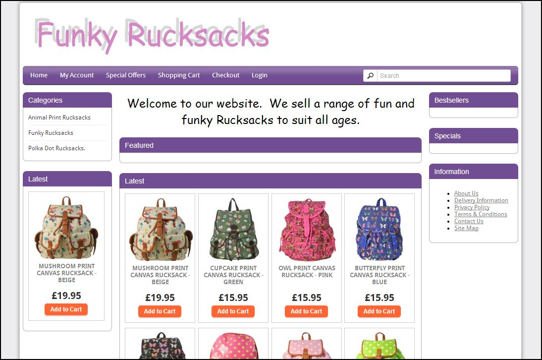 E-commerce Website Selling A Range of Ladies and Girls Rucksacks